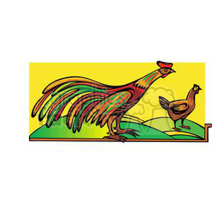 roosters in a field clipart. Commercial use image # 380053