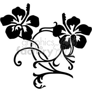 vinyl-ready vector black white flower flowers floral nature organic design designs elements hibiscus