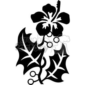 hibiscus black and white art clipart. Commercial use image # 380113