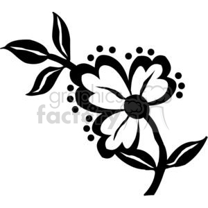 84-flowers-bw clipart. Commercial use image # 380138