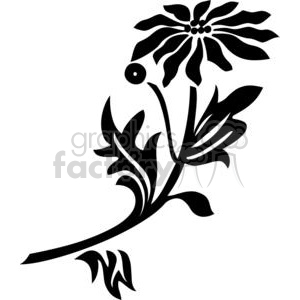 29-flowers-bw clipart. Commercial use image # 380148