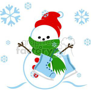 snowman with red hat and ice skates clipart. Commercial use image # 381026