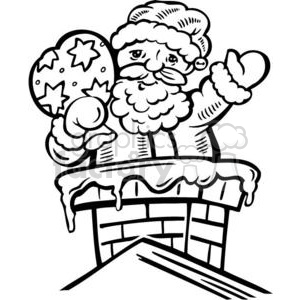Christmas Xmas Holidays Happy Festive Black White cute funny cartoon vector royalty-free Santa Claus Saint Nick chimney roof