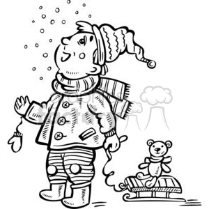 boy watching it snow clipart. Commercial use image # 381499