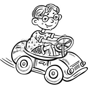 small boy driving a toy car clipart. Commercial use image # 381504