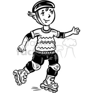 teen boy rollerblading clipart. Commercial use image # 381514