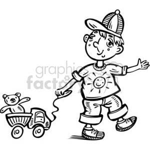 boy playing with his toy truck clipart. Commercial use image # 381524