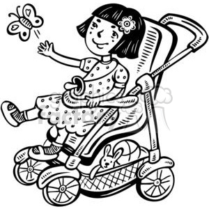small girl in her stroller clipart. Commercial use image # 381539