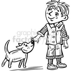 young boy walking his dog