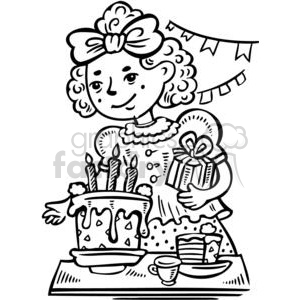 girls birthday party clipart. Commercial use image # 381549