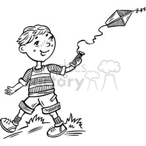 cartoon children child kid kids people little black white boy boys flying kite kites spring fly go small spring fun