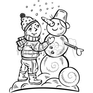 boy building a snowman clipart. Commercial use image # 381559