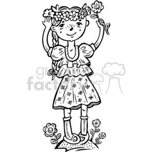 girl picking flowers clipart. Commercial use image # 381569