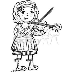 girl playing the violin clipart. Commercial use image # 381574