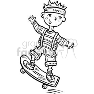 child riding a skateboard clipart. Commercial use image # 381579