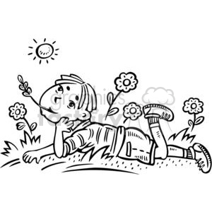 boy daydreaming in a field clipart. Commercial use image # 381584