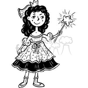 cartoon children child kid kids people little black white princess princesses girl girls magic wand female females