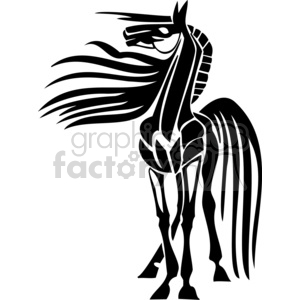 windy horse design clipart. Commercial use image # 383636