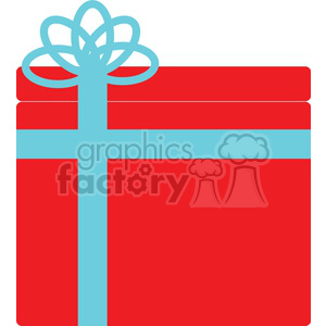 blue bow on a red Christmas gift clipart. Royalty-free image # 383683