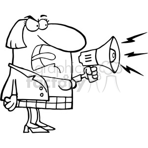 102565-Cartoon-Clipart-Mad-Business-Woman-Yelling-Through-A-Megaphone