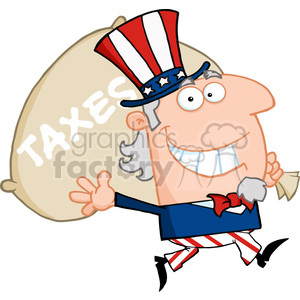 Uncle Sam Runs And Carries A Bag Of Money clipart. Royalty-free image # 383990