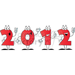 2095-2012-New-Year-Red-Numbers-Cartoon-Characters