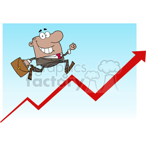 1812-African-American-Businessman-Running-Upwards-On-A-Statistics-Arrow clipart. Royalty-free image # 384020