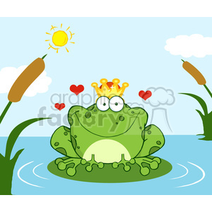 Crowned Frog Prince On A Lily Pad clipart. Royalty-free image # 384025