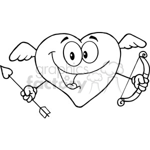 102553 cartoon clipart happy heart cupid with a bow and arrow