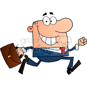 Businessman Running To Work With Briefcase