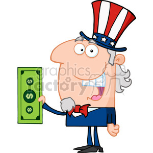 102515-Cartoon-Clipart-Uncle-Sam-With-Holding-A-Dollar-Bill clipart. Royalty-free image # 384050
