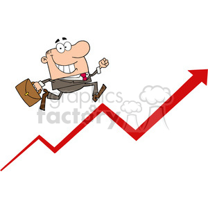 1808-Businessman-Running-Upwards-On-A-Statistics-Arrow clipart. Royalty-free image # 384055