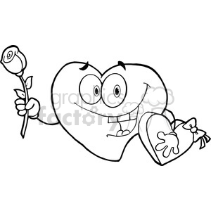 102556-Cartoon-Clipart-Sweet-Red-Heart-Man-Carrying-Chocolates-And-A-Rose clipart. Royalty-free image # 384065