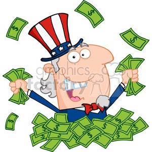 Cartoon Uncle Sam holding cash from quantitative easing clipart. Commercial use image # 384075