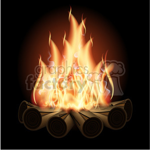 vector campfire on black clipart. Commercial use image # 384100