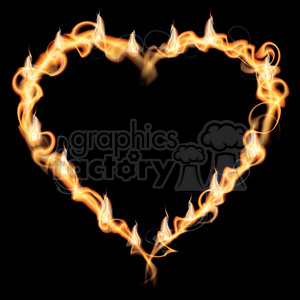 realistic RG vector clipart Vaneltine Valentines Day heart hearts love flaming fire flames hot burning burn fireball
