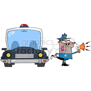 cartoon funny vector comic comical police cop law officer loud speaker megaphone car megaphone