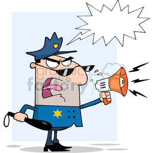 police-speaking-through-a-megaphone clipart. Royalty-free image # 384210