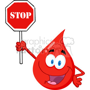 cartoon-blood-drop-holding-stop-sign clipart. Royalty-free image # 384215