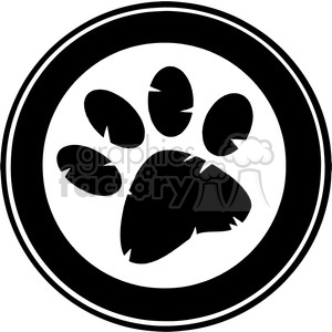 black-white-pawprint clipart. Commercial use image # 384220