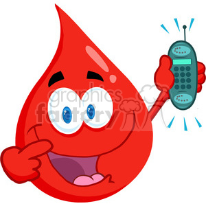 cartoon-blood-drop-holding-cellphone clipart. Royalty-free image # 384225