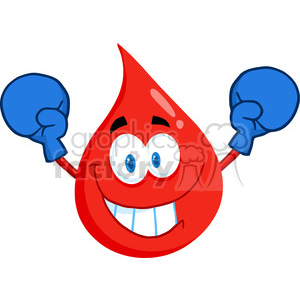 cartoon-blood-drop-wearing-boxing-gloves clipart. Royalty-free image # 384240