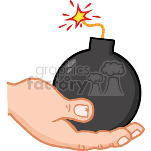 hand-holding-cartoon-bomb clipart. Commercial use image # 384290
