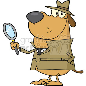 cartoon funny vector comic comical sleuth private investigator detective law police hound dog dogs search k9