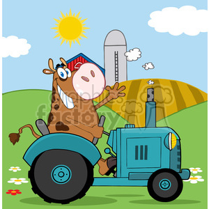 brown-cow-on-a-tractor animation. Royalty-free animation # 384318