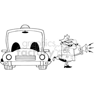 cartoon funny vector comic comical police cop law officer loud speaker megaphone  black+white police+car