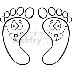 happy-feet-outline-cartoon clipart. Royalty-free image # 384333