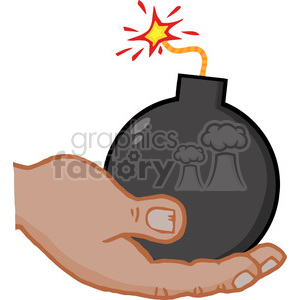 hand-holding-lit-cartoon-bomb clipart. Royalty-free image # 384373