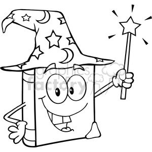 Royalty-Free-RF-Copyright-Safe-Wizard-Book-Cartoon-Character-Holding-A-Magic-Wand clipart. Royalty-free image # 384413