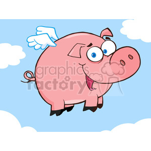 Royalty-Free-RF-Copyright-Safe-Happy-Pig-Flying-In-A-Blue-Sky clipart. Royalty-free image # 384423